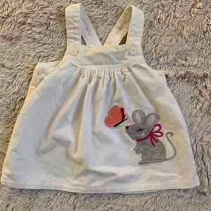 Carter's White Mouse Corduroy Overalls Dress 3mo